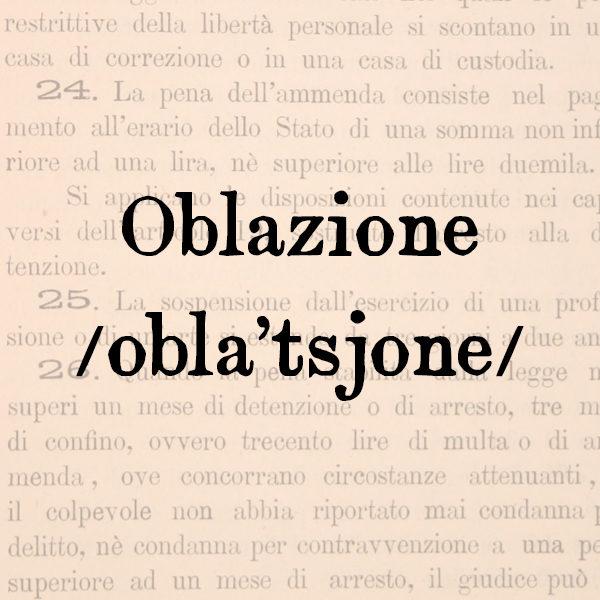 Oblazione, s.f.