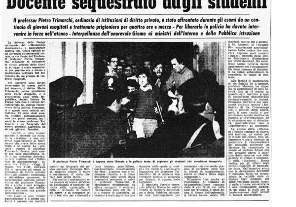 Il processo a Trimarchi: sequestro di un professore in Statale