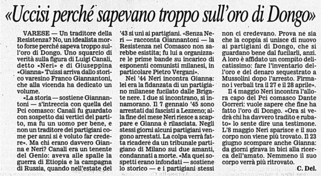 Corriere della Sera, 15 Febbraio 2002