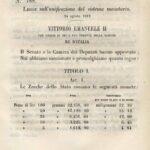 """24 Agosto 1862 - Promulgata la """"Legge fondamentale sull'unificazione del sistema monetario"""""""
