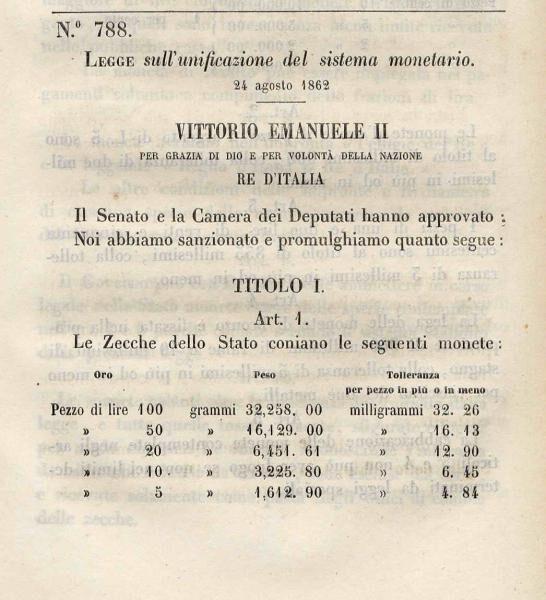 """24 Agosto 1862 – Promulgata la """"Legge fondamentale sull'unificazione del sistema monetario"""""""