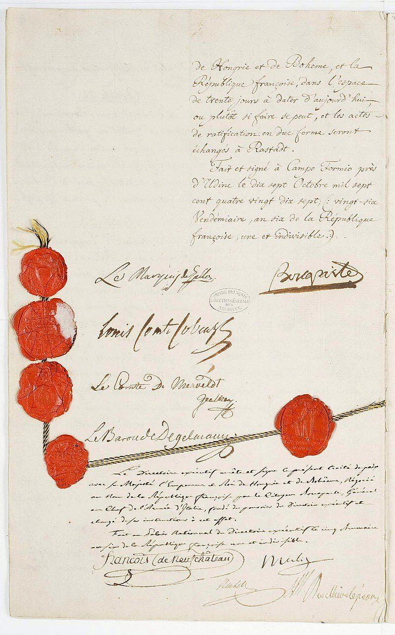 17 Ottobre 1797 – Trattato di Campoformio fra Napoleone e l'Austria
