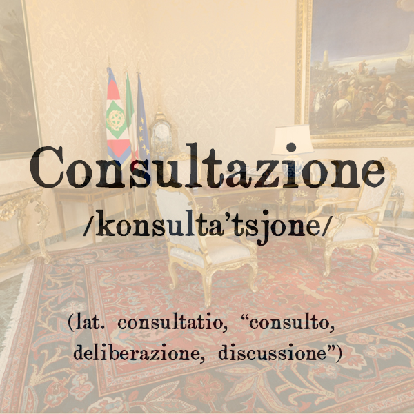 Etimologia di Consultazione, s.f.
