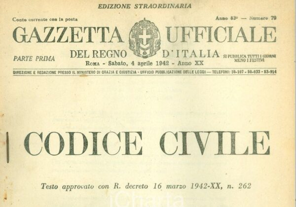 16 marzo 1942 – Promulgato il Codice Civile