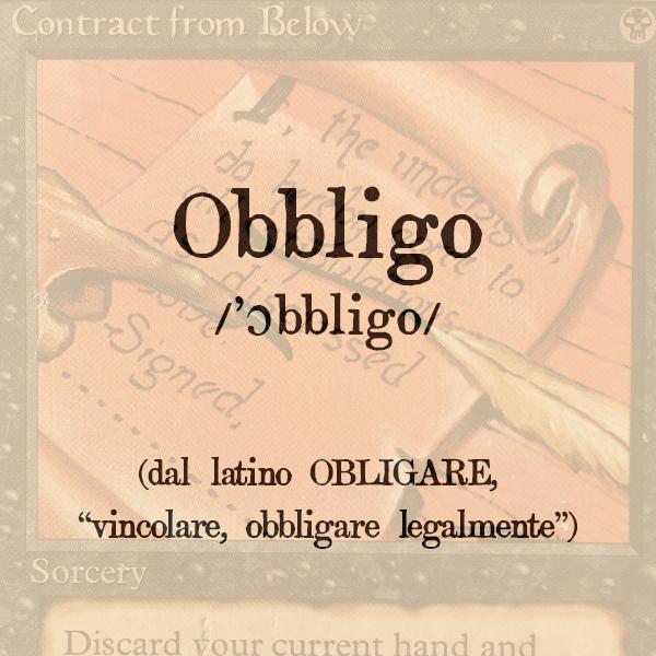 Etimologia di obbligo, s.m.
