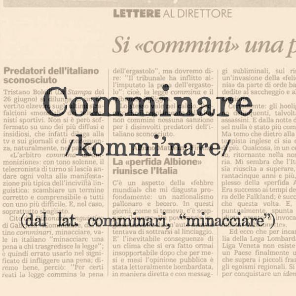 Etimologia di Comminare